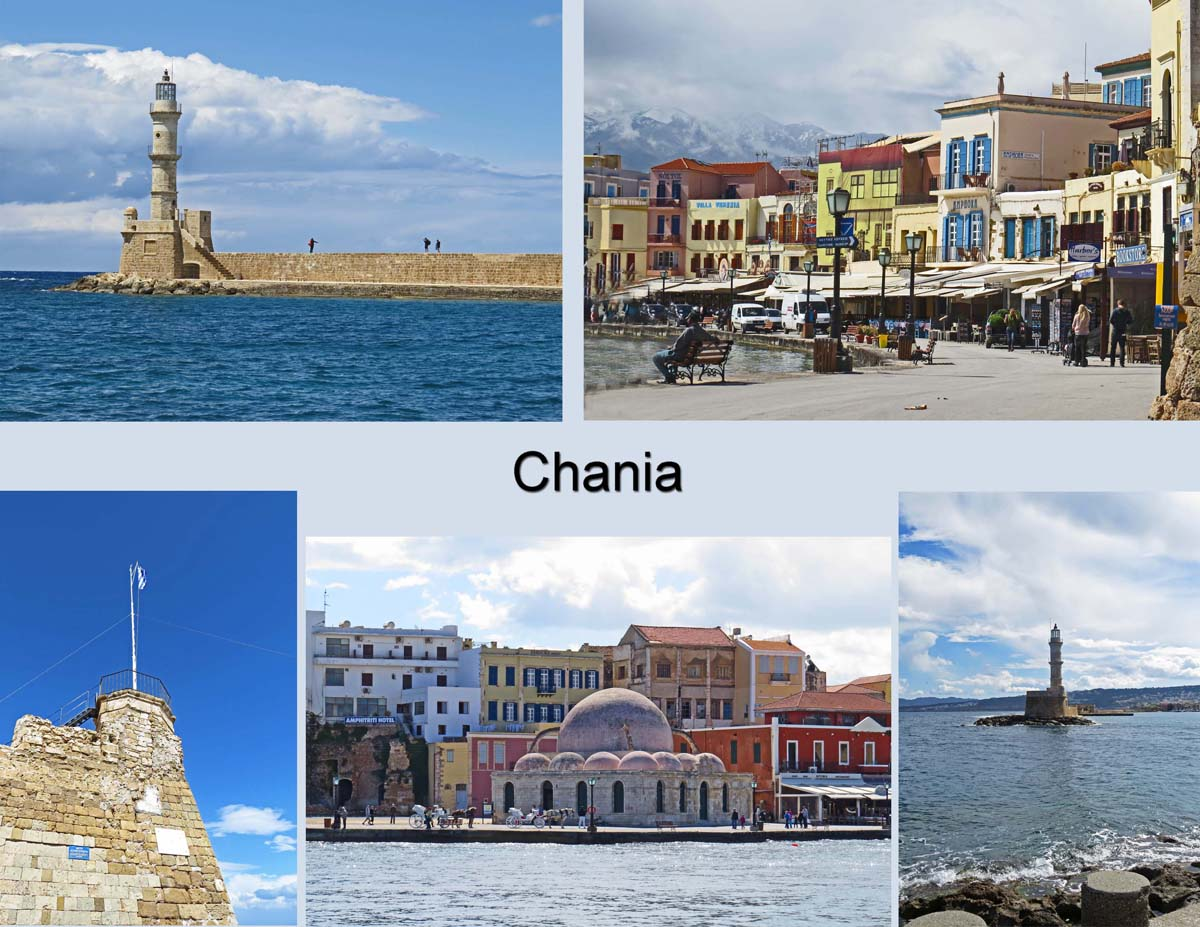 Views of the harbor in Chania