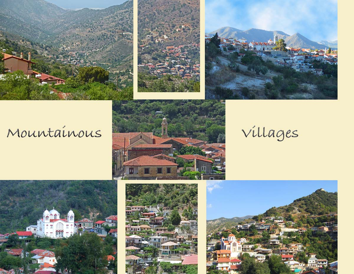 Views of villages nested at the slopes of the Troodos Mountains